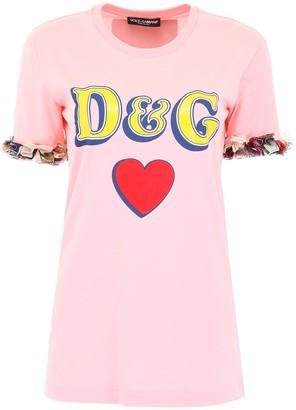 Dolce & Gabbana Frill Trim Logo Printed T-Shirt