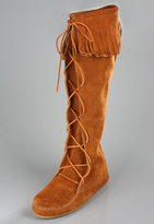 Knee-High Lace Up Boots in Brown