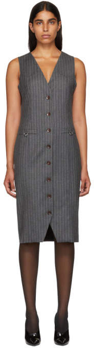 Altuzarra Grey Pinstripe Naomi Dress