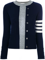 Thom Browne Trompe L'Oeil Intarsia Crew Neck Raglan Sleeve Pullover in Navy Blue Cashmere