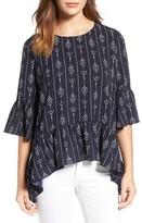 Gibson Women's Ruffled Handkerchief Hem Top