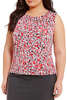 Calvin Klein Plus Pleat Neck Print Matte Jersey Shell