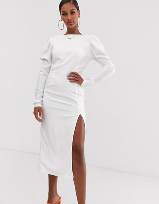John Zack long sleeve midaxi dress with open back in white