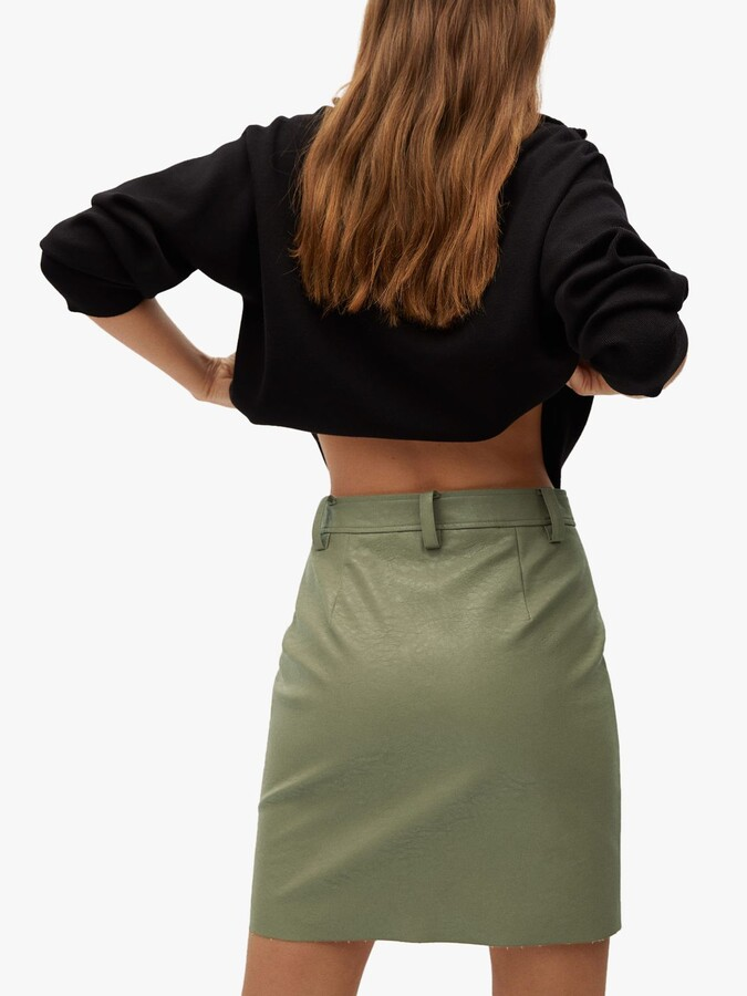 Thumbnail for your product : MANGO Faux Leather Mini Skirt, Green
