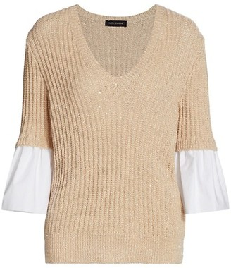 Piazza Sempione Poplin-Cuff Knit Sweater