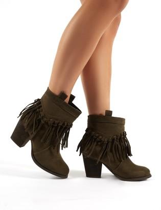 Public Desire Jossa Khaki Faux Suede Fringed Heeled Western Ankle Boots