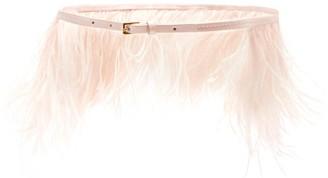 Altuzarra Feather-trim Leather Belt - Light Pink