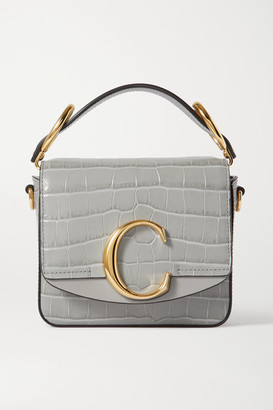 Chloé C Mini Smooth And Croc-effect Leather Tote - Gray