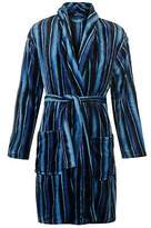 Stripe Mens Fleece Robe Long Sleeve