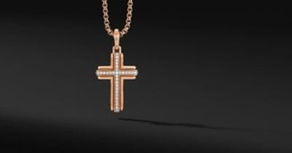 David Yurman Deco Cross Pendant In 18K Rose Gold, 34Mm