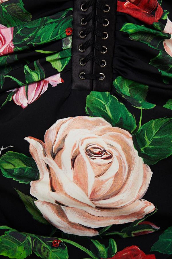 Thumbnail for your product : Dolce & Gabbana Lace-up Ruched Floral-print Stretch-silk Midi Dress