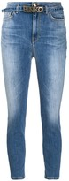 Pinko logo belt cropped skinny jeans