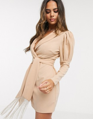Saint Genies tux mini dress with ruched sleeve detail in stone