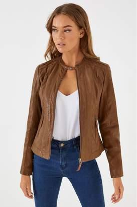 Naf Naf Womens Leather Jacket - Brown