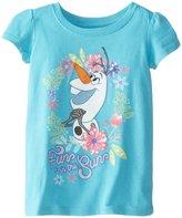 Disney Little Girls' Frozen Fever Olaf Flower Toddler Short Sleeve Graphic Tee, Aqua