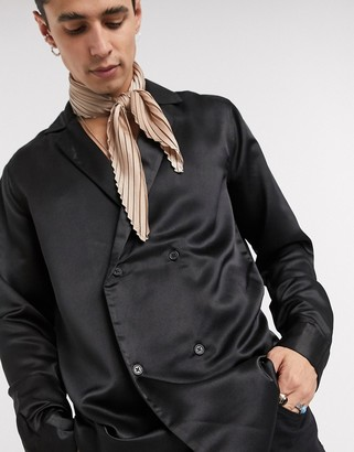 ASOS DESIGN regular fit double breasted satin shirt in black
