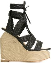 Paloma Barceló woven wedge sandals - women - Leather - 39