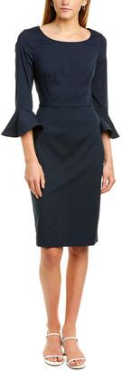 Oscar de la Renta Flounce Sleeve Sheath Dress