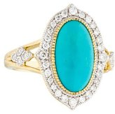 Jude Frances 18K Turquoise & Diamond Medium Moroccan Ring