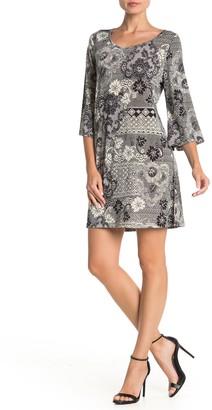 Papillon Printed 3/4 Sleeve Shift Dress
