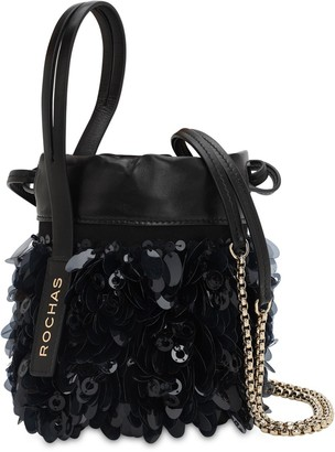 Rochas Sequined Leather Bucket Bag