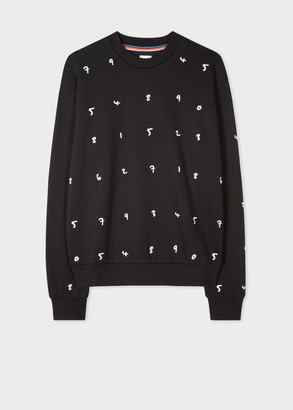 Paul Smith Women's Black Embroidered 'Numbers' Cotton-Blend Sweatshirt