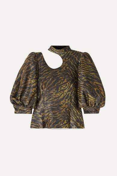 Ganni Tiger-print Cutout Lurex Blouse - Brown