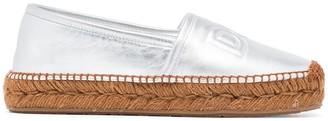Dolce & Gabbana Metallic silver Logo Embossed Leather Esapdrilles