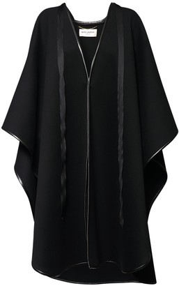 Saint Laurent Wool Blend Cape W/ Leather Piping