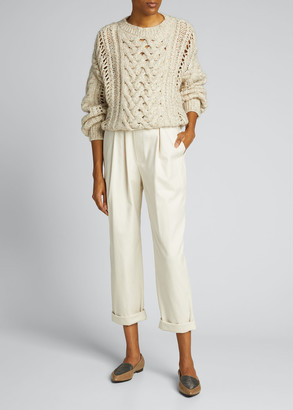Brunello Cucinelli Cashmere-Blend Ribbed Cable-Knit Sweater