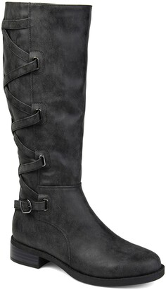 Journee Collection Carly Lace Back Boot - Extra Wide Calf
