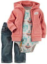 Carter's Baby Boy Cardigan, Tribal Bodysuit & Jeans Set