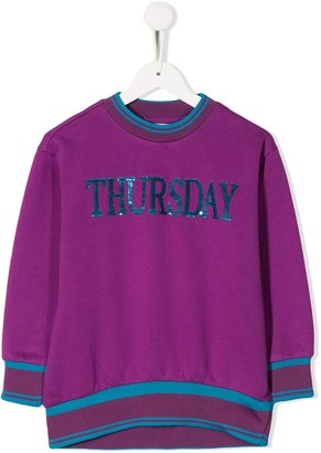 Alberta Ferretti Kids sequin Thursday knit jumper