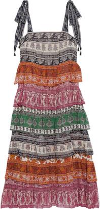 Zimmermann Amari Tiered Printed Cotton And Silk-blend Midi Dress