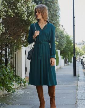 Petite Mendigote Green Viscose Crepe Dress - medium