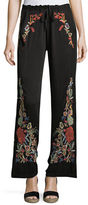 Johnny Was Angeline Embroidered Wide-Leg Easy Pants