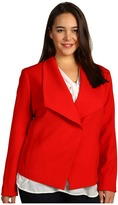 Klein Plus Anne Plus Size Drape Front Jacket (Poppy Red) - Apparel