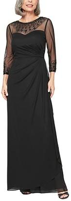 Alex Evenings Long A-Line Dress with Beaded Sweetheart Illusion Neckline (Dark Navy) Women's Dress