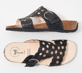 Think! Leather Cut-Out T-Strap Sandals - Mizzi