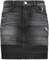 J Brand Leila distressed denim mini skirt