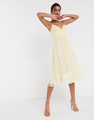 ASOS DESIGN cami spot tulle mesh midi dress in lemon