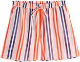 Diane von Furstenberg Striped Cotton Shorts with Silk