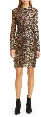 Ganni Leopard Print Mesh Long Sleeve Dress