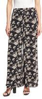 5Twelve Wide-Leg Floral-Print Chiffon Pants, Black Pattern