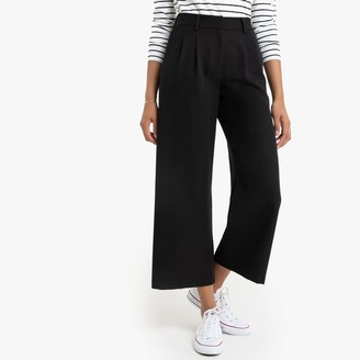"""Cropped Wide Leg Trousers, Length 25"""""""