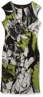 Connected Apparel Women's Abstract Print Side Bodice Overlay