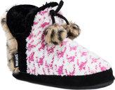 Muk Luks Women's Pennley Fur and Pom Pom Bootie Slipper