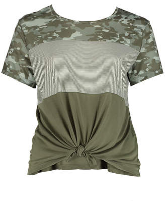 Self Esteem Clothing clothing Women's Tee Shirts Olive - Olive Camo Stripe Color Block Knot-Front Short-Sleeve Tee - Plus