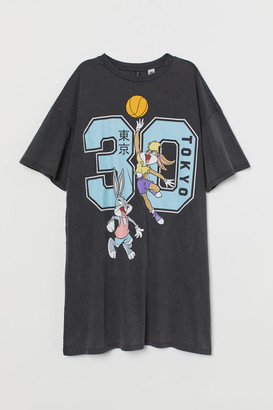 H&M Printed T-shirt Dress - Black