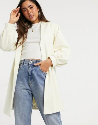 Helene Berman volume sleeve short wool blend coat in cream